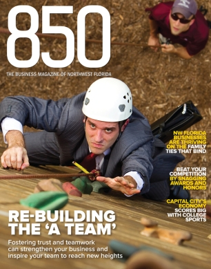 Carlin Trammel models for 850 Business Magazine